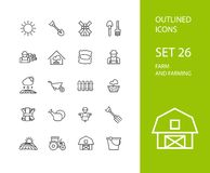 Outline icons thin flat design, modern line stroke Stock Photos