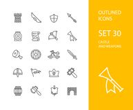 Outline icons thin flat design, modern line stroke. Style, web and mobile design element, objects and vector illustration icons  set 30 - castle and wepon Royalty Free Stock Images