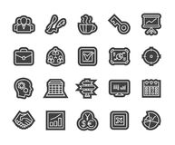 Outline icons thin flat design, modern line stroke. Style, web and mobile design element, objects and vector illustration icons set 25 - business and company Royalty Free Stock Images