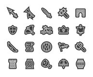 Outline icons thin flat design, modern line stroke. Style, web and mobile design element, objects and vector illustration icons  set 30 - castle and wepon Stock Image