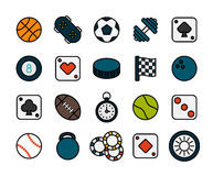 Outline icons thin flat design, modern line stroke. Style, web and mobile design element, objects and vector illustration icons set 12 - sport and game Stock Photo