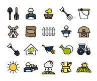 Outline icons thin flat design, modern line stroke. Style, web and mobile design element, objects and vector illustration icons set 26 - farm and farming Stock Photo