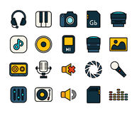 Outline icons thin flat design, modern line stroke. Style, web and mobile design element, objects and vector illustration icons set 11 - audio and photo vector illustration