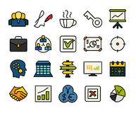 Outline icons thin flat design, modern line stroke. Style, web and mobile design element, objects and vector illustration icons set 25 - business and company Royalty Free Stock Photography