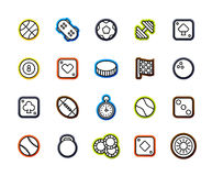 Outline icons thin flat design, modern line stroke style. Web and mobile design element, objects and vector illustration icons set 12 - sport and game Stock Photography