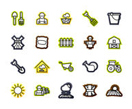 Outline icons thin flat design, modern line stroke style. Web and mobile design element, objects and vector illustration icons set 26 - farm and farming Royalty Free Stock Images