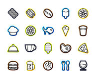 Outline icons thin flat design, modern line stroke style. Web and mobile design element, objects and vector illustration icons set 6 - food and drink Stock Photos