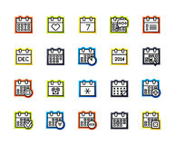 Outline icons thin flat design, modern line stroke style. Web and mobile design element, objects and vector illustration icons set 16 - calendar collection Royalty Free Stock Photography