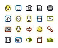 Outline icons thin flat design, modern line stroke style. Web and mobile design element, objects and vector illustration icons set 11 - audio and photo royalty free illustration