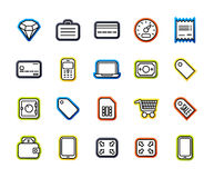 Outline icons thin flat design, modern line stroke style. Web and mobile design element, objects and vector illustration icons set 9 - shopping and finance Stock Images