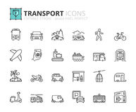 Outline icons about transport Royalty Free Stock Photography