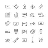 Outline icons vector set - movie, cinema, video Stock Photo