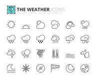Outline icons about the weather Royalty Free Stock Photos