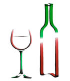 Outline illustration of bottle of wine and glass. Outline 3d illustration of a bottle of wine and a glass for the design of wine list or menu Stock Photos