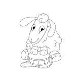 Outline illustration ofcartoon character lamb with trommel Royalty Free Stock Image