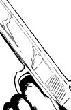 Outline illustration of close up on pistol with finger on trigge Stock Image