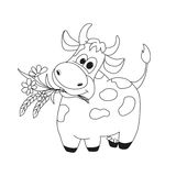 Outline illustration of cute cow with flowers. Stock Image