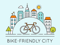 Outline Illustration of Modern City and Touring Bike. Bike-Friendly City Sign Stock Photos