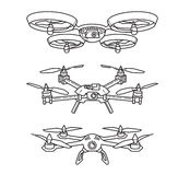 Outline illustration of quadcopters. Set of shematic icons of drons Royalty Free Stock Image