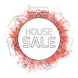 Outline illustrations of country houses in a circle. With watercolor splashes and space for text. Property For Sale royalty free illustration