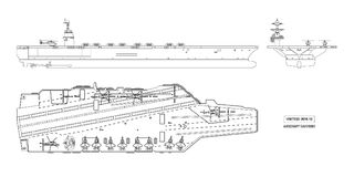 Outline image of aircraft carrier. Military ship. Top, front and side view. Battleship model. Warship in flat style. Outline image of aircraft carrier. Military Stock Photos