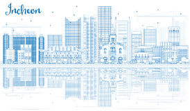 Outline Incheon Skyline with Blue Buildings and Reflections. Royalty Free Stock Photos