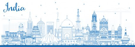 Outline India City Skyline with Blue Buildings. Delhi. Mumbai, B. Angalore, Chennai. Vector Illustration. Business Travel and Tourism Concept with Historic Royalty Free Stock Image