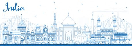 Outline India City Skyline with Blue Buildings. stock illustration