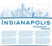 Outline Indianapolis Skyline with Blue Buildings and Copy Space. Royalty Free Stock Image