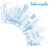 Outline Indianapolis Skyline with Blue Buildings and Copy Space. Royalty Free Stock Photos