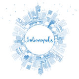 Outline Indianapolis Skyline with Blue Buildings and Copy Space. Vector Illustration. Business Travel and Tourism Concept with Modern Buildings. Image for royalty free illustration
