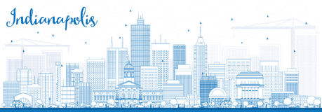 Outline Indianapolis Skyline with Blue Buildings. Stock Image