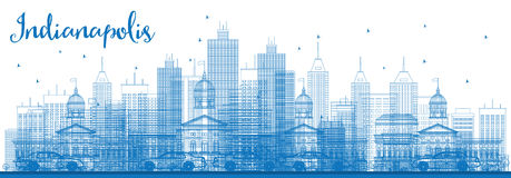 Outline Indianapolis Skyline with Blue Buildings. Royalty Free Stock Photography
