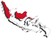 Outline of Indonesia with the national flag royalty free stock photo