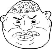 Outline of Insulted Man. Outline of angry African man with clenched teeth Royalty Free Stock Photography