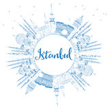 Outline Istanbul Skyline with Blue Landmarks and Copy Space. Royalty Free Stock Image