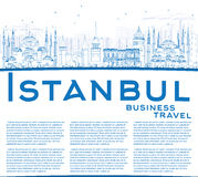 Outline Istanbul Skyline with Blue Landmarks and Copy Space. Stock Photography