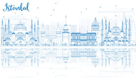 Outline Istanbul Skyline with Blue Landmarks and Reflections. Royalty Free Stock Photography