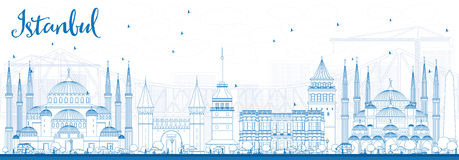 Outline Istanbul Skyline with Blue Landmarks. Stock Images