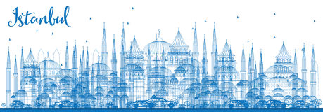 Outline Istanbul Skyline with Blue Landmarks. Royalty Free Stock Image