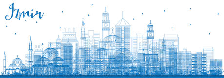 Outline Izmir Skyline with Blue Buildings. Stock Photography