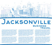 Outline Jacksonville Skyline with Blue Buildings and Copy Space. Stock Photos