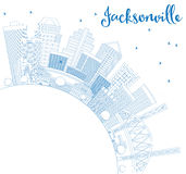 Outline Jacksonville Skyline with Blue Buildings and Copy Space. Royalty Free Stock Photo