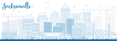 Outline Jacksonville Skyline with Blue Buildings. Stock Images