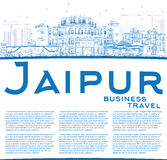 Outline Jaipur Skyline with Blue Landmarks and Copy Space. Vector Illustration. Business Travel and Tourism Concept with Historic Buildings. Image for Stock Images