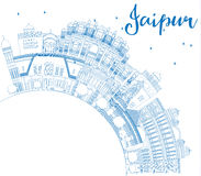 Outline Jaipur Skyline with Blue Landmarks and Copy Space. Vector Illustration. Business Travel and Tourism Concept with Historic Buildings. Image for Royalty Free Stock Photography