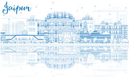 Outline Jaipur Skyline with Blue Landmarks and Reflections. Vector Illustration. Business Travel and Tourism Concept with Historic Architecture. Image for Royalty Free Stock Photos