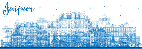 Outline Jaipur Skyline with Blue Landmarks. Vector Illustration. Business Travel and Tourism Concept with Historic Buildings. Image for Presentation Banner Royalty Free Stock Photos