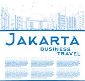 Outline Jakarta skyline with blue landmarks and copy space. Royalty Free Stock Photography