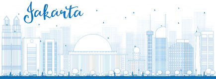 Outline Jakarta skyline with blue landmarks Stock Photo
